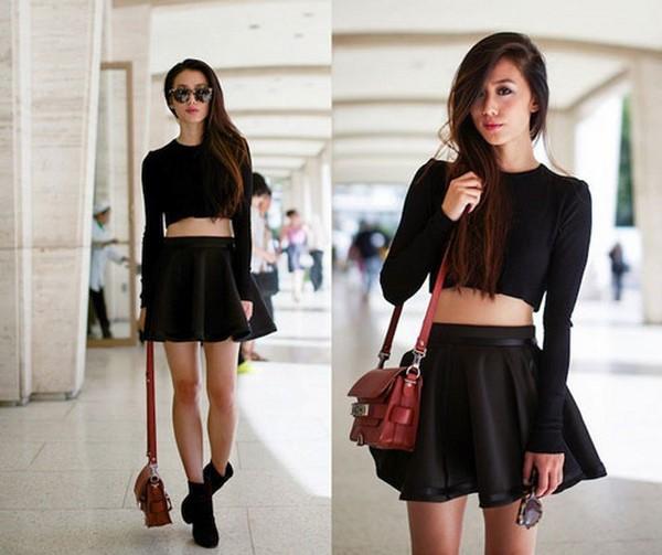 Chân váy xòe đen và áo Corp-top