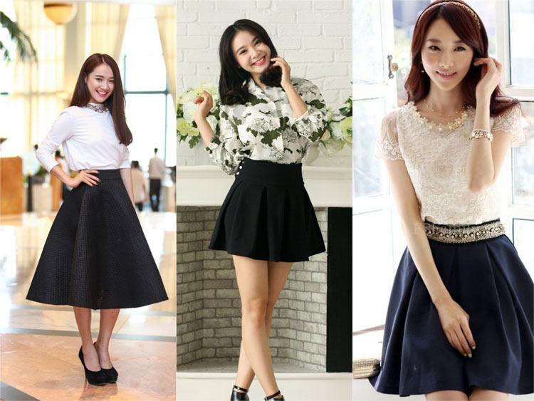 Top 1001 cách phối đồ chân váy đen xòe mặc với áo gì